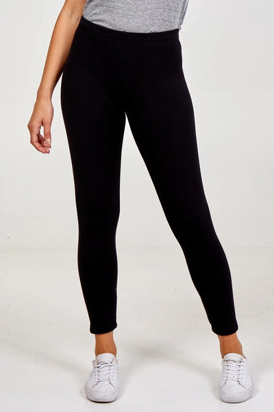 Bobbie Basic Fleece Lined Leggings in Black