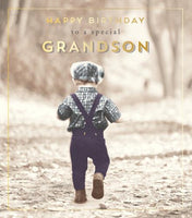 HD788B - Boy in Dungarees Grandson Birthday Card