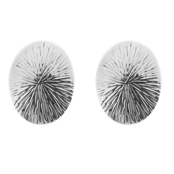 Canada Chiselled Circle Stud Earrings in Sterling Silver
