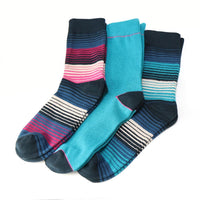 Mens Boxed Trio of Striped Bamboo Socks