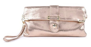 Lily Leather Clutch Bag in Rose Gold