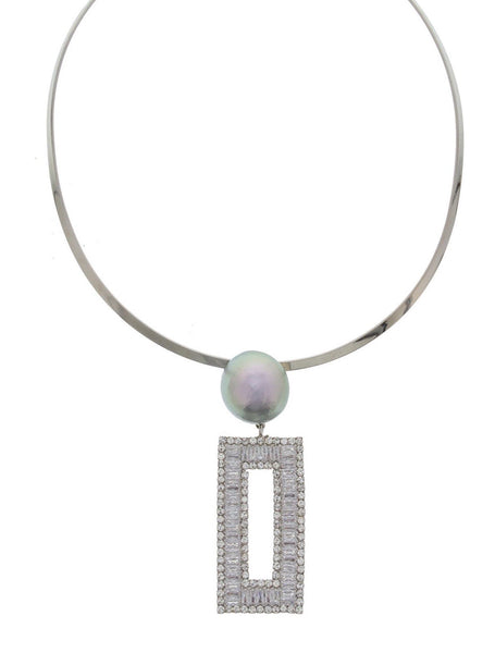 Reece Rectangle Crystal Drop Necklace in Silver