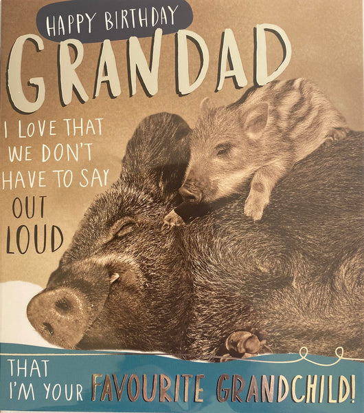 JQ722B - Pig and Piglet Grandad Birthday Card