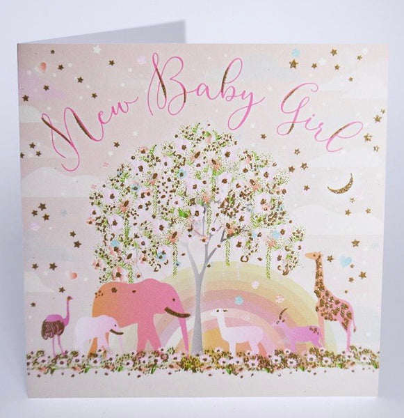 MO16 - Animals New Baby Girl Card