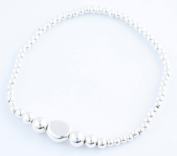 Oval Charm Stretch Bracelet in Silver