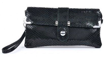 Lily Leather Clutch Bag in Black