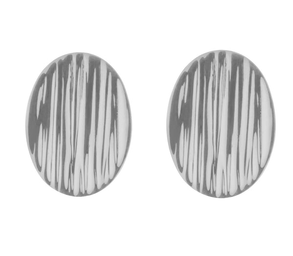Trinidad Textured Oval Stud Earrings in Sterling Silver