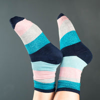 Ladies Boxed Trio of Pink & Blue Bamboo Socks