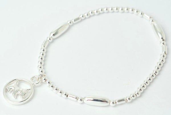 Dog Charm Stretch Bracelet in Silver