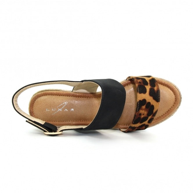 Marvel Leopard Print Wedges Sandals in Black