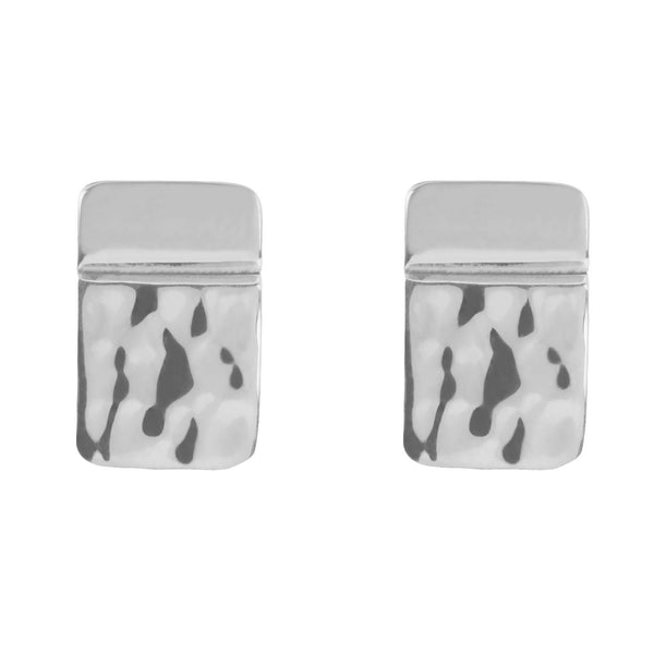 Sorrento Square Hammered Stud Earrings in Sterling Silver