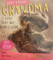 JQ723B - Koala Bear Grandma Birthday Card