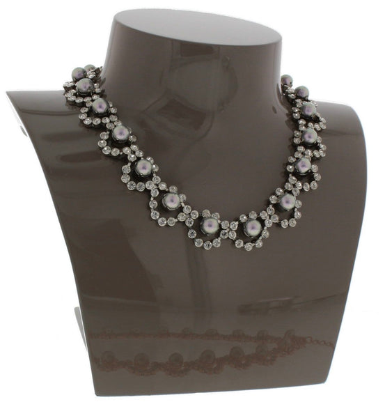 Portia Pearl and Crystal Bib Necklace in Silver
