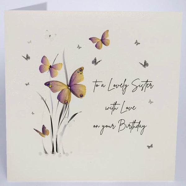 JZ32 - Butterfly Lovely Sister Birthday Card