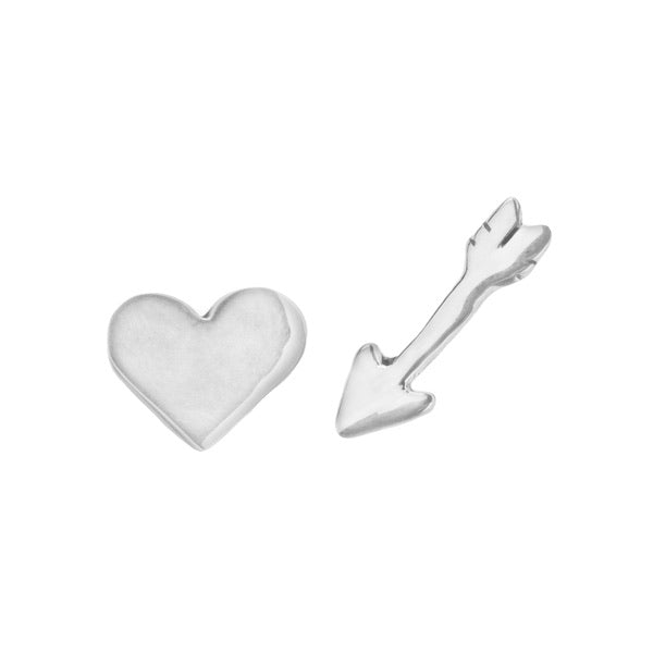 Croatia Cupid Heart and Arrow Stud Earrings in Sterling Silver
