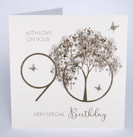 GS27 - 90th With Love Tree Birthday Card
