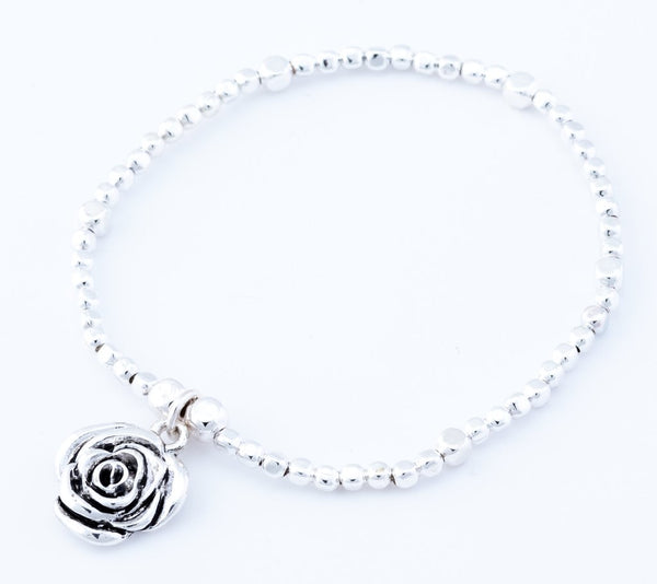 Rose Stretch Bracelet in Silver