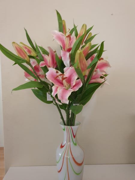 Artificial Oriental Lilly Flowers - 1 Head + 1 Bud - 66cm High - Kindreds Palace