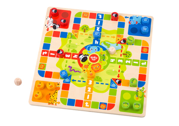 2 IN 1 WOODEN BOARD GAME - LUDO GAME, SNAKES AND LADDERS - Kindreds Palace