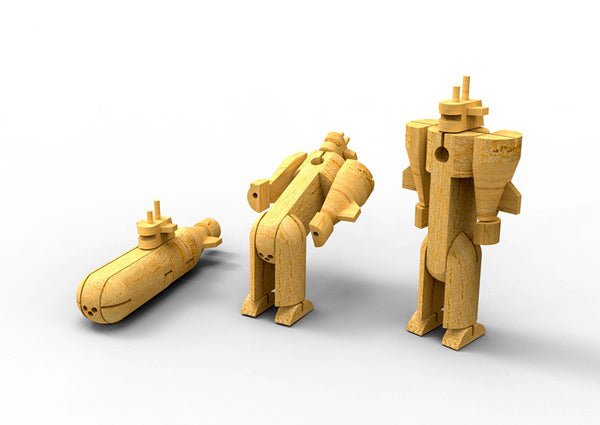 WOODEN TRANSFORMER - SUBMARINE - Kindreds Palace
