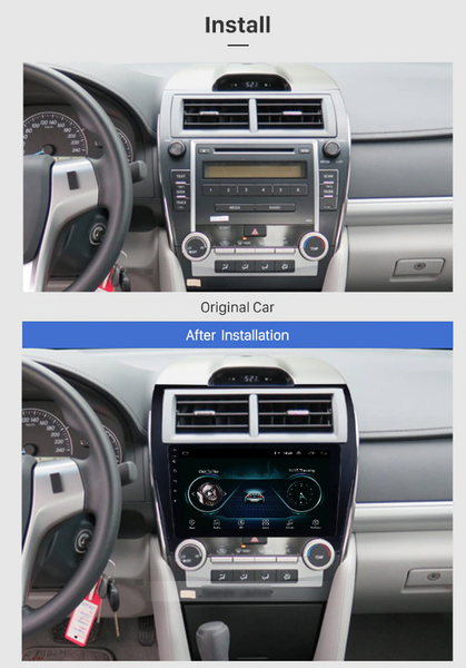 Toyota Camry aftermarker radio headunit stereo after installation look