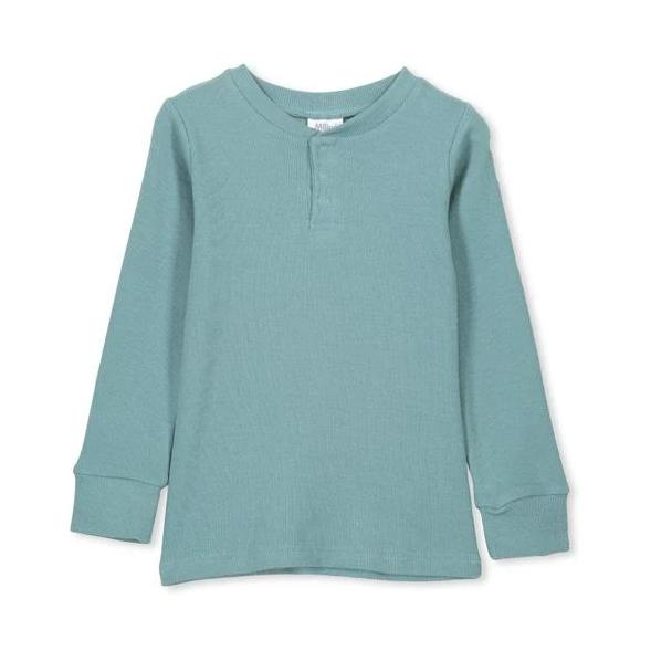 Rib Henley - Sea Pine Green