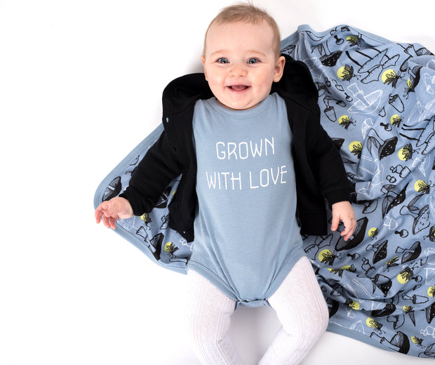 Grown With Love Onesie Blue