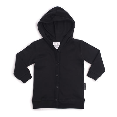 Hooded Black Lightweight Cardigan