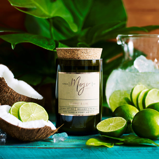 Wine Bottle Candle - Coconut & Lime