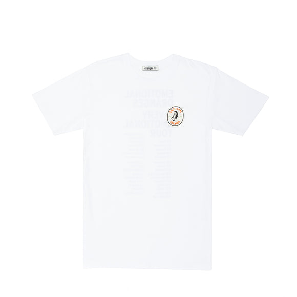 'a very emotional tour' white tee