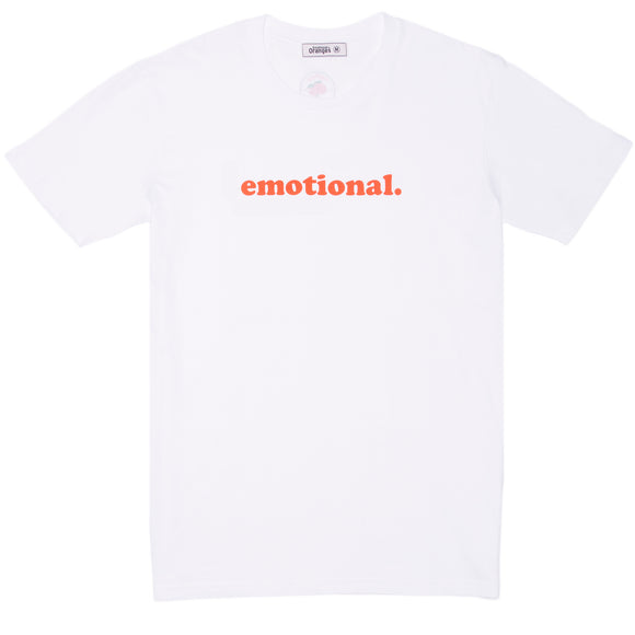 emotional. SS white tee