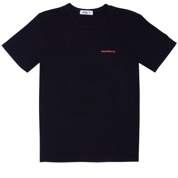 embroidered emotional. black tee 101