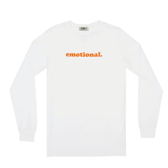 emotional. LS white tee