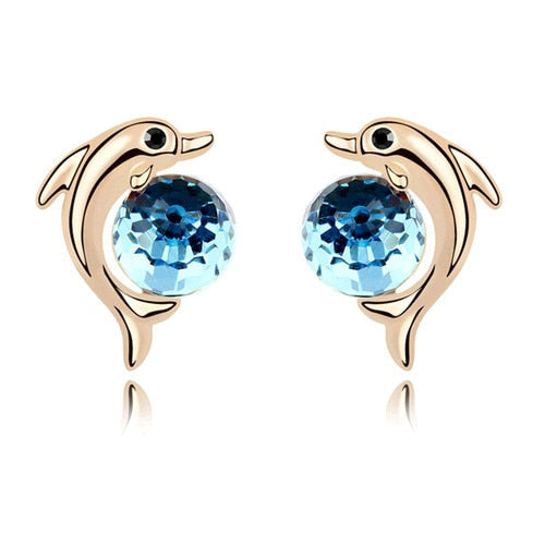 Round Stones Dolphin Earrings