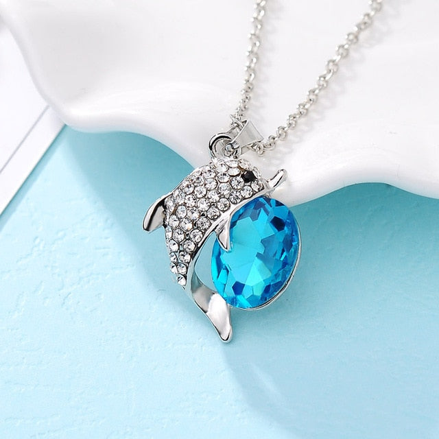 Big Crystal Dolphin Necklace