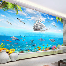 Load image into Gallery viewer, Underwater World Dolphin 3D Walpaper