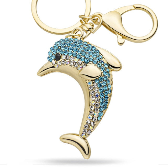 Lucky Crystal Dolphin Key Chain