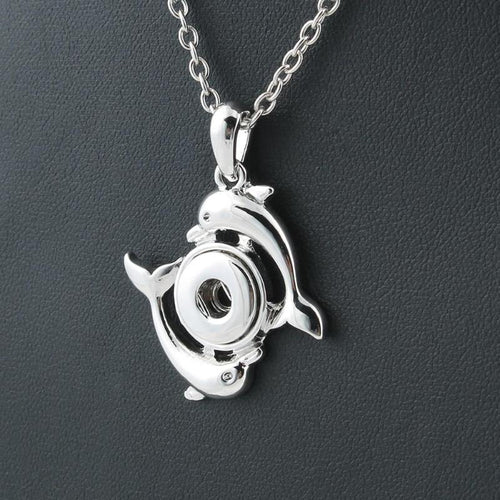 Metal Dolphin Snap Buttons Necklace