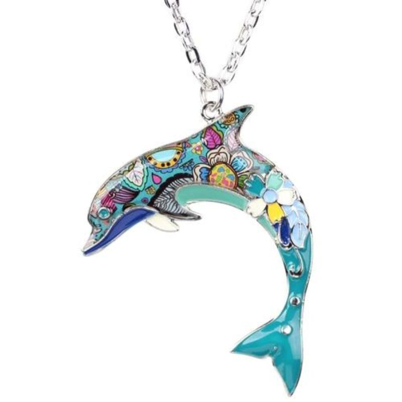 Statement Enamel Alloy Dolphin Necklace