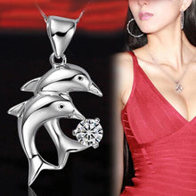 Load image into Gallery viewer, Rhinestone Double Dolphin Pendant