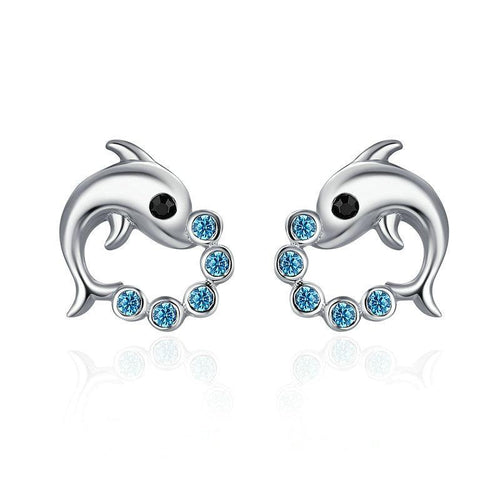 Dolphin Love Ball Earrings