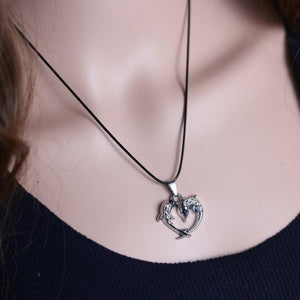 Crystal Dolphin Heart Pendant Necklace