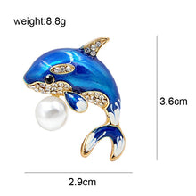 Load image into Gallery viewer, Blue Dolphin Rhinestone Brooch