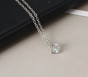 Crystal Fashion Cube Dolphin Necklace