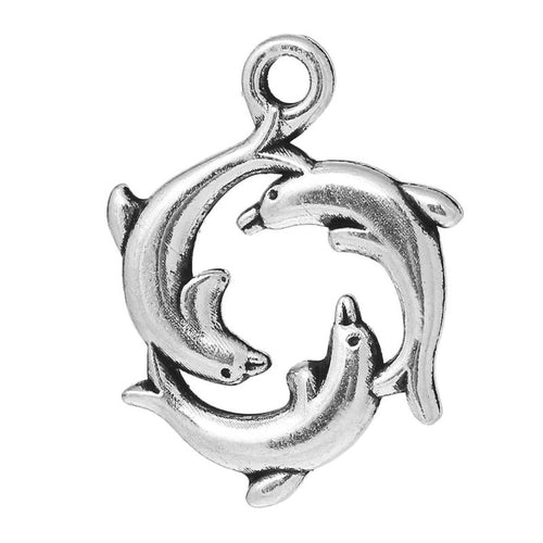 Antique Dolphin Charm Pendant