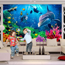 Load image into Gallery viewer, Personalized Underwater World Dolphin Wallpaper