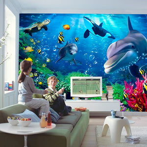 Personalized Underwater World Dolphin Wallpaper