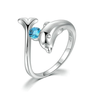 Lucky Guardian Birthstone Dolphin Ring