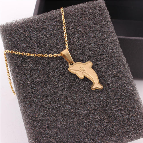 Gold Fashion Dolphin Necklace