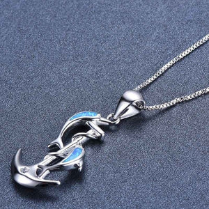 Dolphin In Anchor Pendant Necklace
